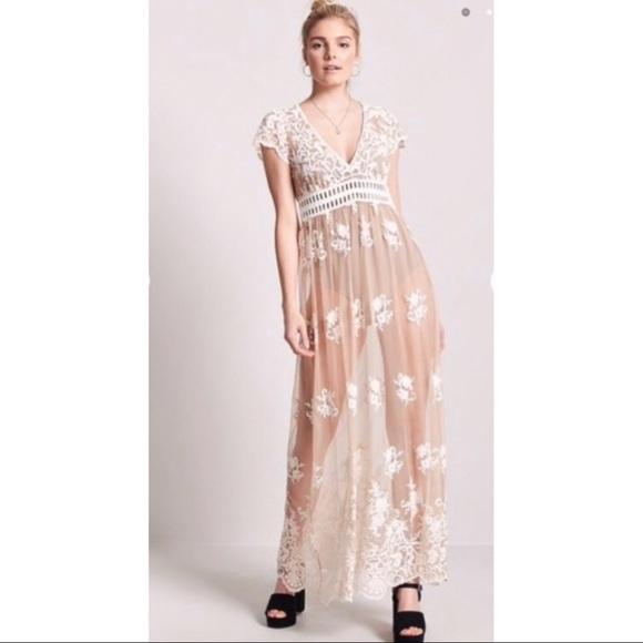 Sheer Floral Embroidered Lace Maxi Dress Nude
